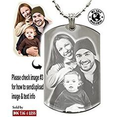 Personalized Photo Text Dogtags Custom Your Picture Text Necklace Pendant + Free Engraving - great Valentine's day gift
