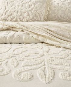 Martha Stewart Collection Chenille Medallion Queen Bedspread, Created for Macy's - Quilts & Bedspreads - Bed & Bath - Macy's Chenille Bedspread, Quilted Bedspreads, Bed In Corner, Natural Bedding, Textiles, Linen Bedding, Bedding Sets, Girl Bedding, Chic Bedding