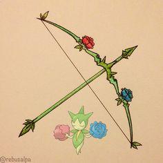 Pokeapon No. 315 - Roselia. #artwork #roselia #bow #arrow #pokemon #weapon #pokeapon #nintendo