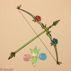 Pokeapon No. 315 - Roselia. #artwork #roselia #bow #arrow #pokemon #weapon #pokeapon #nintendo