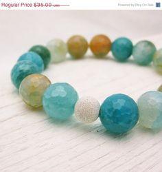 15  25 OFF One Size 5 3/4  6 Blue Agate Bead Bracelet by byjodi, $29.75