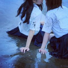 sixth and seventh share a kiss by the beach. at first seventh wasn't giving in but of course sixth bribed her Aesthetic Japan, Japanese Aesthetic, Couple Aesthetic, Aesthetic Photo, Aesthetic Pictures, Yuri, Lgbt, Pose Reference Photo, Cute Lesbian Couples