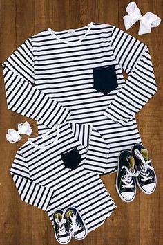 Mommy & Me - Black & White Stripe T-Shirts