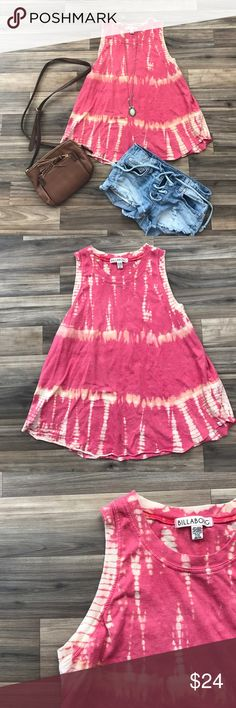 BILLABONG tie dye tank top Super cute pink and orange tie dye flowy muscle tee! Only worn a few times with no flaws Feel free to ask questions and use the offer button!! Billabong Tops Tank Tops