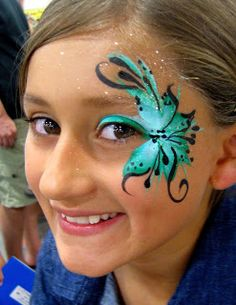 When you think about face painting designs, you probably think about simple kids face painting designs. Many people do not realize that face painting designs go Face Painting Flowers, Face Painting Tips, Butterfly Face Paint, Adult Face Painting, Eye Painting, Face Painting Designs, Face Paintings, Princess Face Painting, Maquillaje Halloween