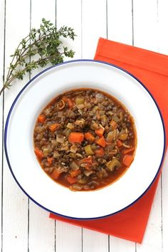 Barefoot Contessa's lentil vegetable soup - this recipe is easy and tastes amazing!