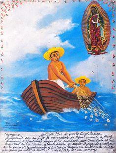 Рыбак Агрипино из местечка Анхель в Оахаке вместе со своим сыном благодарит Пресвятую Деву Гваделупскую, покровительницу рыбаков, за исцеление от боли в руках и за то, что она придала ему сил продолжить рыбачить в открытом море, где он ловит луцианов, так что он смог скопить денег на покупку лодки. Благословенна будь ловля, в которой помогает Пресвятая.  Март 1950.