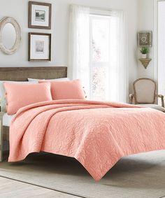 Look at this #zulilyfind! Coral Felicity Quilt Set by Laura Ashley Home #zulilyfinds