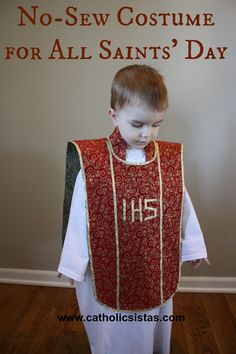 Very cute priest costume directions for All Saints' day. No sew.