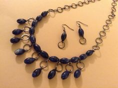 Sodalite+Stone+Necklace+and+Earring+Set+by+WirednStrung+on+Etsy