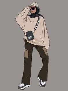 Hijab Fashion, Fashion Art, Hijab Drawing, Hijab Cartoon, Cartoon Art Styles, Girl Hijab, Anime Style, Cute Drawings, Art Girl