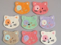 8 Crochet Cat Face Appliques 8 Colors EA139. $3.95, via Etsy.