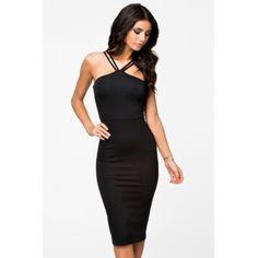 USD10.49Sexy V Neck Sleeveless Sheath Knee Length Black Polyester Dress