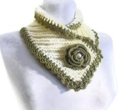 knit collar, Winter fashion, Green and Ivory neckwarmers, hand-knitted, new, Unique gift, 2014