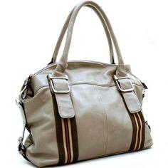 Dasein designer inspired striped shoulder bag
