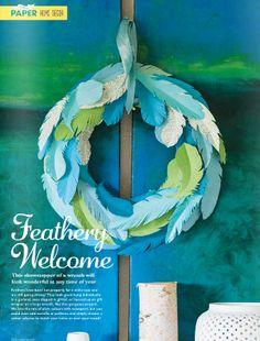 homemade paper wreath #blue #green