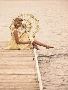 Elisabeth Ansley RETRO WOMAN WITH PARASOL ON JETTY Women Umbrellas Parasols, Woman, Retro, Patio Umbrellas, Retro Illustration, Mid Century, Women