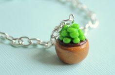 Miniature Succulent Cactus Plant Bracelet by PumpkinPyeBoutique, $15.00