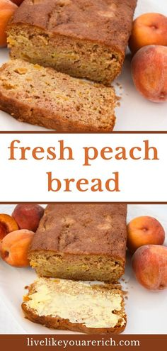 This Delicious Peach Bread Recipe is quite easy to make. It is nice and soft with bits of peaches to bite into. The peaches are complimented well by vanilla and cinnamon sugar flavors. It's a wonderful way to enjoy summer's best peaches! Peach Zucchini Bread, Peach Bread, Zucchini Bread Recipes, Easy Bread Recipes, Butter Recipe, Cookie Desserts, Peaches, Yummy Treats, Breakfast Recipes