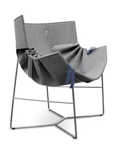 Bufa Chair by MOWAstudio: Puff and pleat to taste by pulling up the ribbons. Made of felt.  http://tinyurl.com/4rebs5f $795