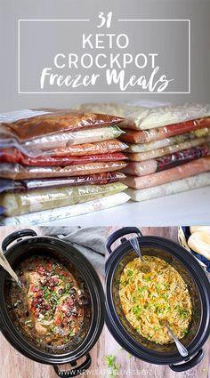31 Keto Crockpot Freezer Meals // Free Printable Recipes & Grocery List Included
