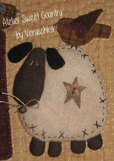 Atelier Sweet Country: return Here I am . Sheep Crafts, Felt Crafts, Fabric Crafts, Sewing Crafts, Primitive Sheep, Primitive Crafts, Wool Applique Patterns, Felt Applique, Penny Rugs