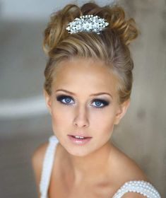 high bun wedding hairstyles, tup bun hairstyles for brides - top bun wedding hairstyle Bridal Hair And Makeup, Wedding Hair And Makeup, Wedding Hair Accessories, Hair Makeup, Bridal Makeup For Blondes, Eye Makeup, Bridal Makeup For Blue Eyes Blonde Hair, 2015 Hairstyles, Wedding Hairstyles For Long Hair