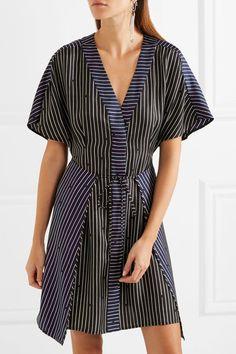 Diane von Furstenberg - Striped Silk Mini Dress - Black