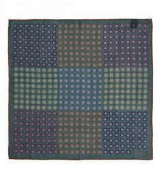 Drakes - Green Patchwork Print Wool and Silk Pocket Square