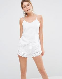 Image 1 ofNew Look Broderie Cami And Short