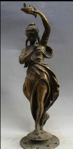 """Fast 23"""" China West Bronze Copper Stand Sexy Beauty Naked Lift Lamp Art Sculpture fast"""