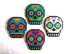 Sugar Skull Magnets Day of the Dead Decor Dia de los Muertos Calavera Melty Bead Patterns, Pearler Bead Patterns, Perler Patterns, Beading Patterns, Peyote Patterns, Perler Bead Designs, Hama Beads Design, Perler Beads, Perler Bead Art