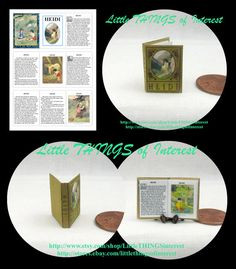 Purchase $50.00 or more and receive free shipping. Use Coupon Code: 50FREESHIP  Heidi miniature replica has 12 pages with 4 full color illustrations. Measures approximately 3/4 of an inch high by 5/8 of an inch wide. The title is printed prominently on the spine so it will look GREAT open or closed.  All my books that are 1/12 scale have miniature hard covers.Most of my miniature books are readable BOOKS. They are printed on both sides of the page with a readable passages draw...