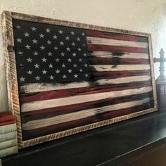 Wood American Flag Wall Art wood american flag // american flag wall art // rustic american