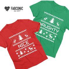 dc3dc29bb Naughty and Nice Shirts, Naughty Nice Shirts, Couple Christmas shirts, Christmas  naughty nice