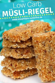 Low Carb Müsliriegel Rezept zum Frühstück oder als Snack für Zwischendurch.