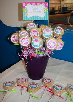 Gymnastics Party -- Rice Krispie Treat Pops for Birthday Birthday Party Celebration, 10th Birthday Parties, 5th Birthday, Birthday Ideas, Frozen Bday Party, Gymnastics Birthday, Owl Parties, Bird Party, Party Central