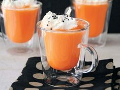 Our party is outside so this orange colored white hot chocolate is a must. With Chocolate whip cream!!