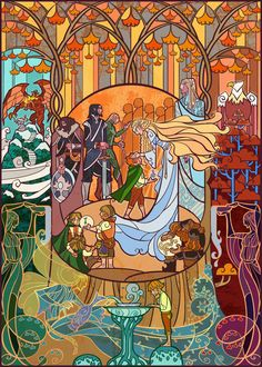 "Welcome from Lothlorien ""stained glass"" by Jian Guo aka breathing2004 (Be sure to check out all the other Tolkien-inspired work! It's gorgeous!)"