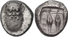 SICILY, Syracuse. Gelon. Tyrant, 485-478. AR Tetradrachm (23mm, 16.99 g, 12h). Head of the river god Alpheios facing, with a moustache, long beard, small horns (their tips off the flan) and non-human ears / ΣVRA, Two large grains of barley; all within a deep incuse square.