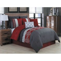cacb18e6cef6 9 Piece Queen Wilshire Burgundy and Gray Comforter Set