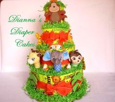 animal diaper cake | Baby Diaper Cake Zoo Animals Jungle Safari Boys Girls Neutral Gender