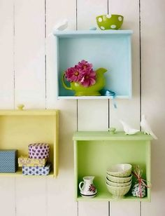 i chose this because i know a lot of ppl   who have stored away dressers that have no use and those people always happen to   be looking for things to decorate the walls of a room. This is perfect, take the   drawers from the stored away dresser and either create sort of shelves like this   picture or slip them around and paint on the flat side for a painting sticking   out of the wall