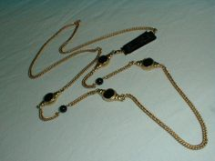 erwin pearl long necklace matte gold black laquer - Quality Vintage Jewelry