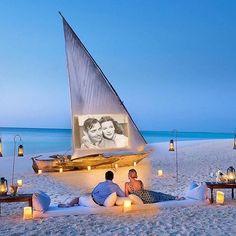 Movie time in Zanzibar at the beach! Via: @smallhotels  Follow @travel_delux ❤️ #movie #film #zanzibar #beachside #outdoortheather #cinema #outdoorcinema #beachfront #oceanfront #romantic #paradise