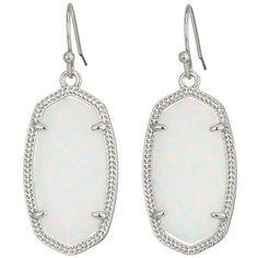 Kendra Scott Dani Earrings (Rhodium/White Kyocera Opal) Earring ($130) ❤ liked on Polyvore featuring jewelry, earrings, hook earrings, white jewelry, opal earrings, 14 karat gold jewelry and 14k earrings