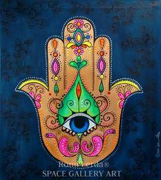 Hamsa Hand Tattoo, Hamsa Art, Hamsa Design, Hand Der Fatima, Jewish Art, Arte Popular, Hindu Art, Mandala Art, Rock Art