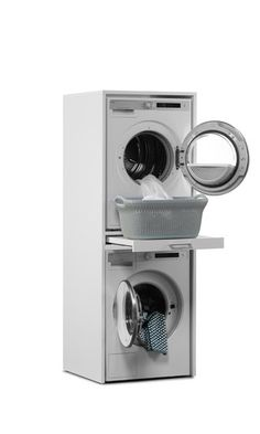 Washing machine cupboard for washing machine and dryer on top with pull-out tray. Without the machines! Small Utility Room, Utility Room Storage, Utility Room Designs, Laundry Room Organization, Modern Laundry Rooms, Laundry Room Layouts, Laundry Room Remodel, Laundry In Bathroom, Laundry Room Inspiration