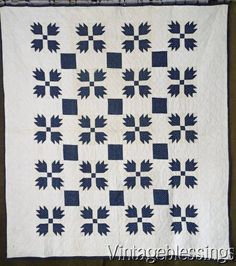 On Sale Now! Gorgeous! Never Washed Indigo Blue & White Bear Paw QUILTc1880 Antique www.Vintageblessings.com