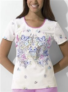 """Dickies Round Neck Top in """"Papillon Paradise"""" 82791-PIPD This Junior fit round neck top features release pleats at the center front, side angled pockets, side vents, and back elastic for shaping. Center back length: 26 1/2"""". $24.50 #scrubs #scrubcouture #nurses"""